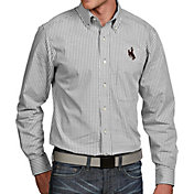 Antigua Men's Wyoming Cowboys White Associate Button Down Long Sleeve Shirt
