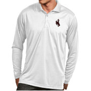 Antigua Men's Wyoming Cowboys White Exceed Long Sleeve Polo