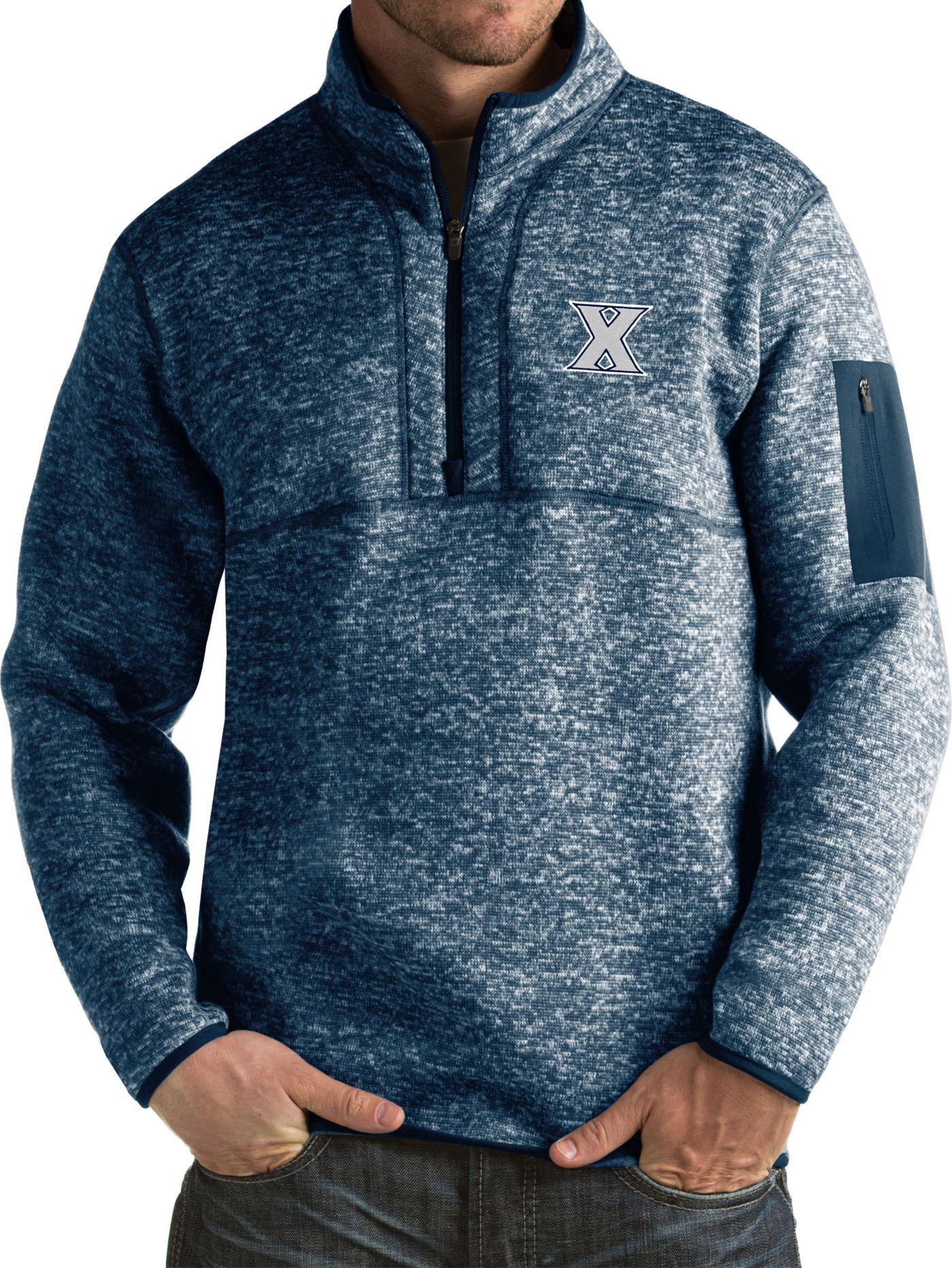 Antigua Men's Xavier Musketeers Blue Fortune Pullover Jacket