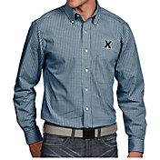 Antigua Men's Xavier Musketeers Blue Associate Button Down Long Sleeve Shirt