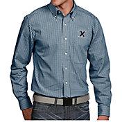 Antigua Men's Xavier Musketeers Blue Associate Button Down Long Sleeve Shirt