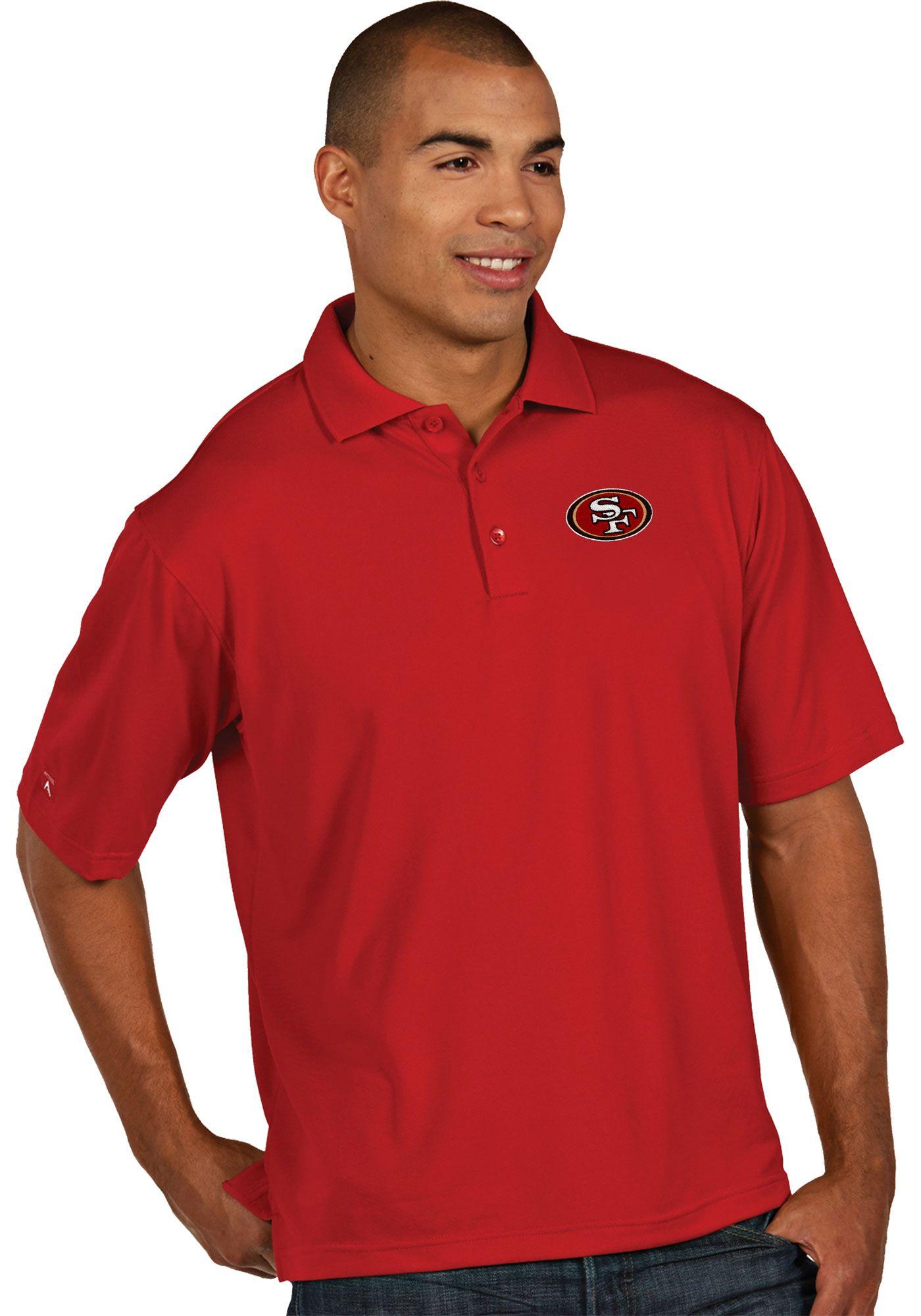 Antigua Men's San Francisco 49ers Pique Xtra-Lite Red Polo
