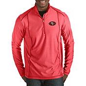 Antigua Men's San Francisco 49ers Tempo Red Quarter-Zip Pullover