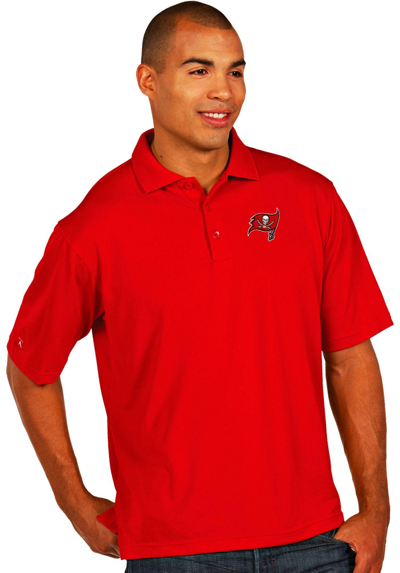 Antigua Men's Tampa Bay Buccaneers Pique Xtra-Lite Red Polo