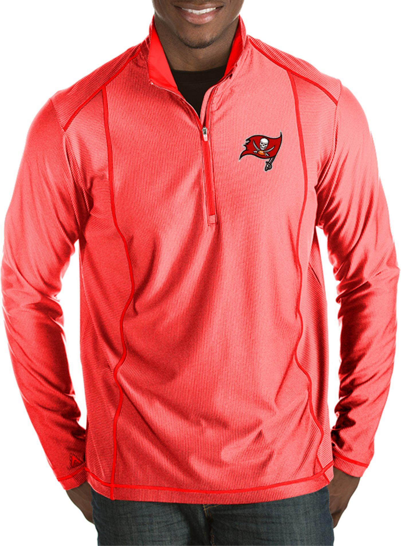 Antigua Men's Tampa Bay Buccaneers Tempo Red Quarter-Zip Pullover