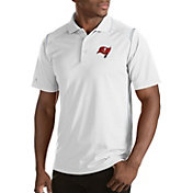 Antigua Men's Tampa Bay Buccaneers Merit White Xtra-Lite Polo