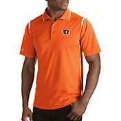 Antigua Men's Cincinnati Bengals Merit Orange Xtra-Lite Polo