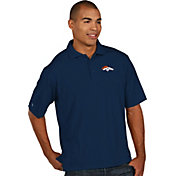 Antigua Men's Denver Broncos Pique Xtra-Lite Navy Polo