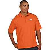 Antigua Men's Denver Broncos Pique Xtra-Lite Orange Polo