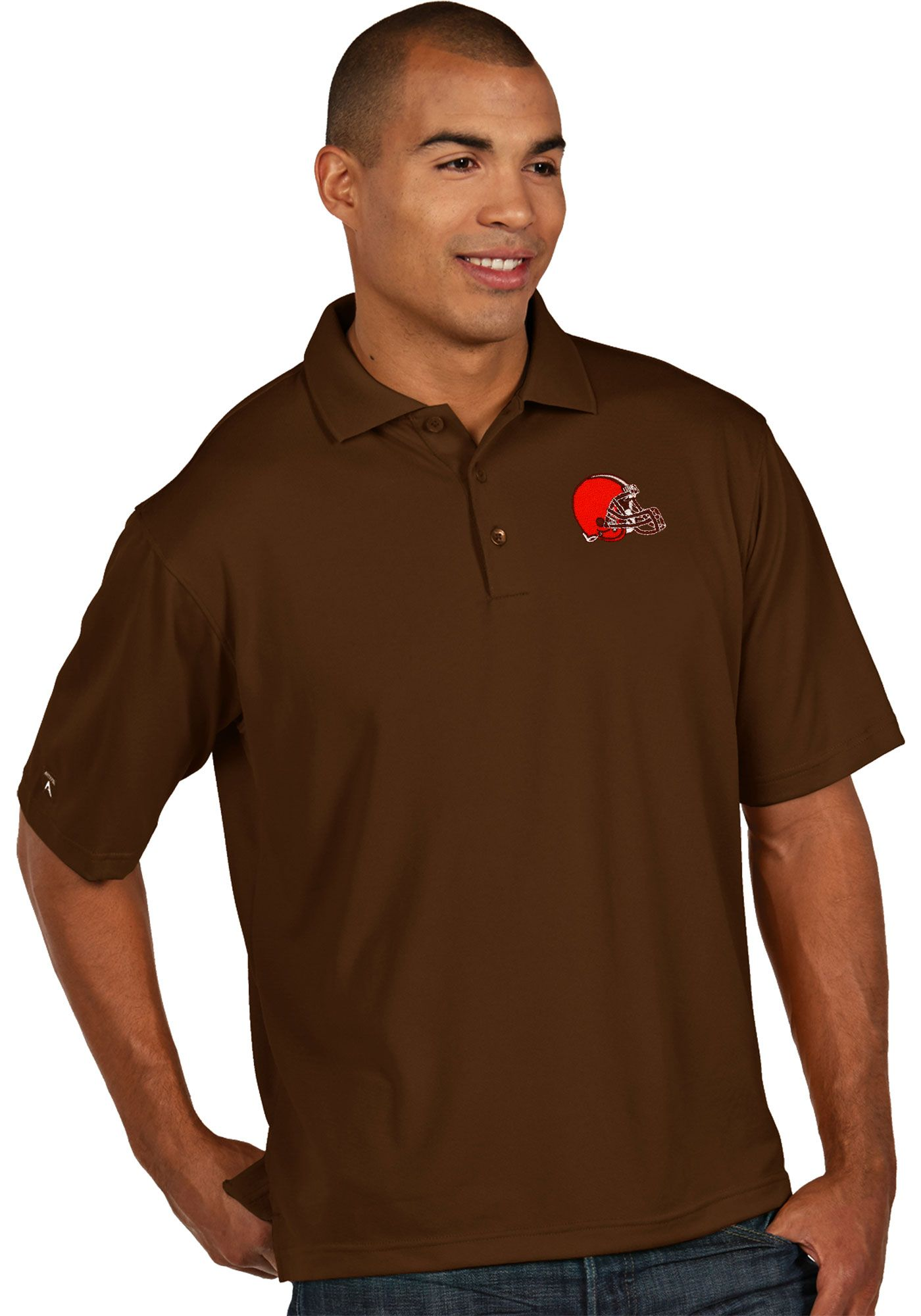 Antigua Men's Cleveland Browns Pique Xtra-Lite Brown Polo