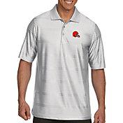 Antigua Men's Cleveland Browns Illusion White Xtra-Lite Polo