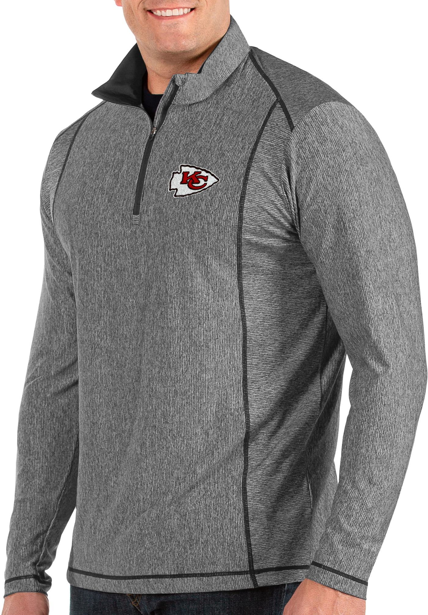Antigua Men's Kansas City Chiefs Tempo Grey Quarter-Zip Pullover