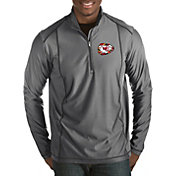 Antigua Men's Kansas City Chiefs Quick Snap Logo Tempo Grey Quarter-Zip Pullover