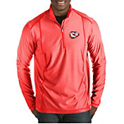 Antigua Men's Kansas City Chiefs Quick Snap Logo Tempo Red Quarter-Zip Pullover