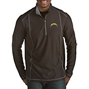 Antigua Men's Los Angeles Chargers Tempo Black Quarter-Zip Pullover