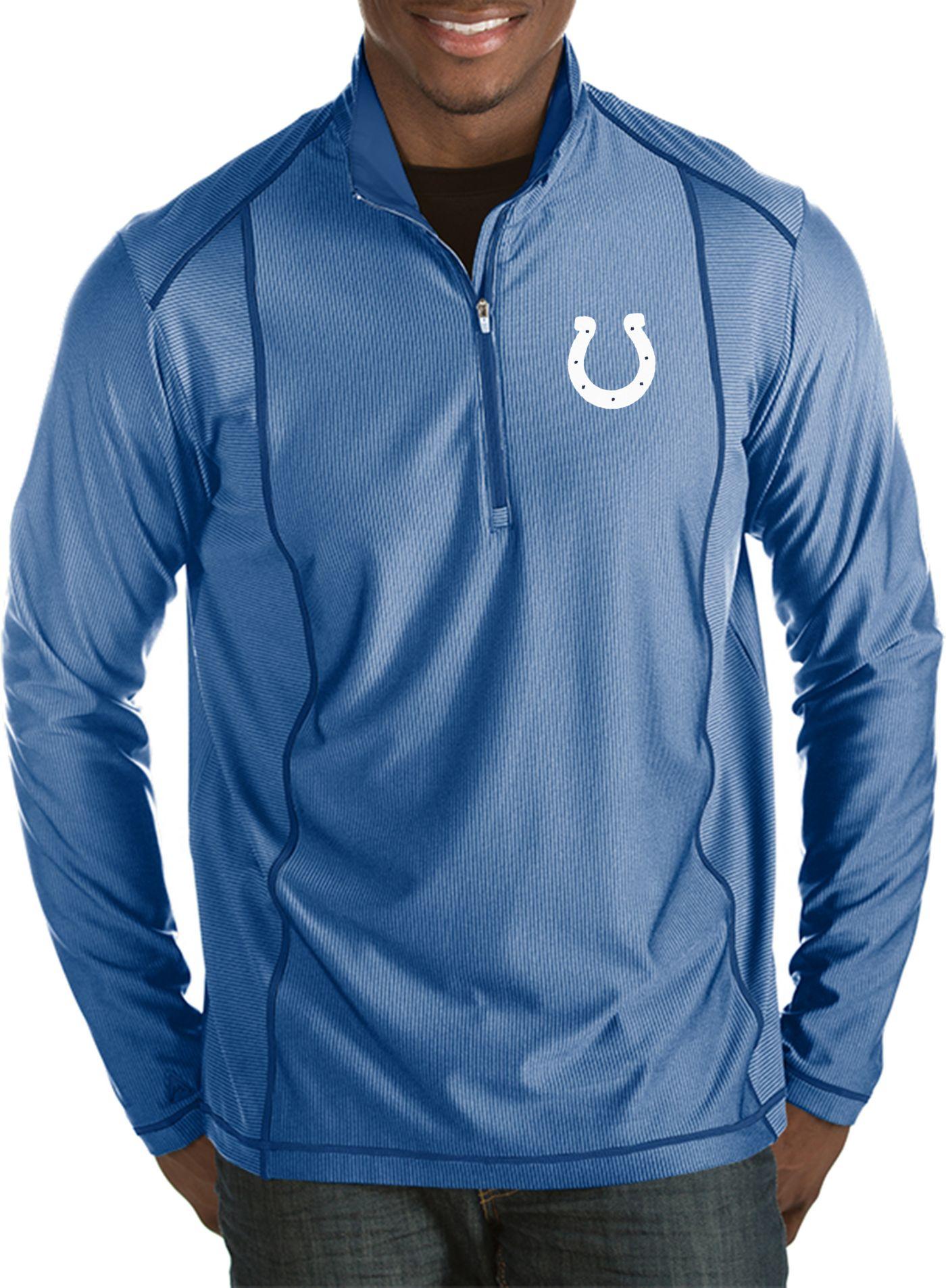 Antigua Men's Indianapolis Colts Tempo Royal Quarter-Zip Pullover