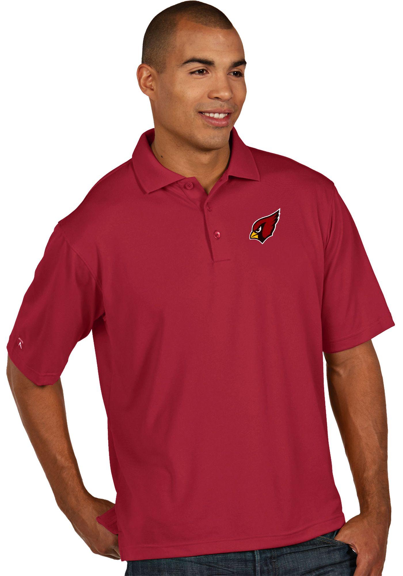 Antigua Men's Arizona Cardinals Pique Xtra-Lite Red Polo