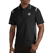 Antigua Men's Miami Dolphins Merit Black Xtra-Lite Polo