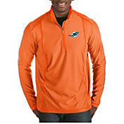 Antigua Men's Miami Dolphins Tempo Orange Quarter-Zip Pullover