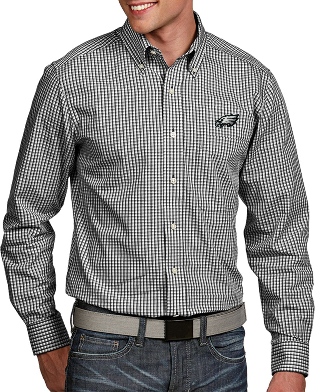 new concept ed2b0 9e59a Antigua Men's Philadelphia Eagles Associate Button Down Dress Shirt