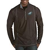 Antigua Men's Philadelphia Eagles Quick Snap Logo Tempo Black Quarter-Zip Pullover