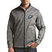 Antigua Men's Philadelphia Eagles Quick Snap Logo Black Heather Golf Jacket