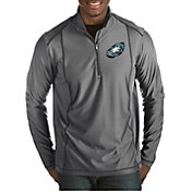 Antigua Men's Philadelphia Eagles Quick Snap Logo Tempo Grey Quarter-Zip Pullover