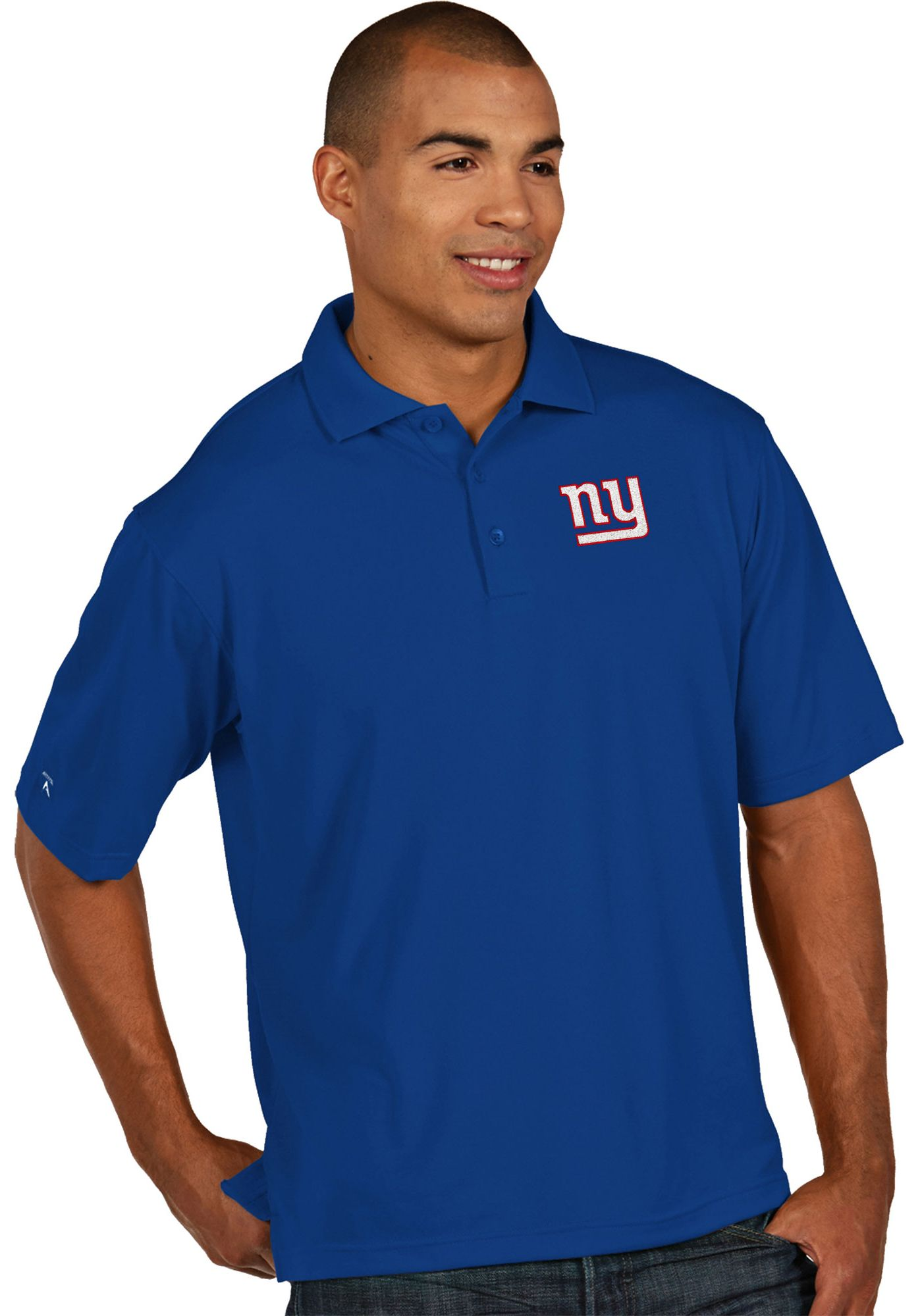 Antigua Men's New York Giants Pique Xtra-Lite Royal Polo