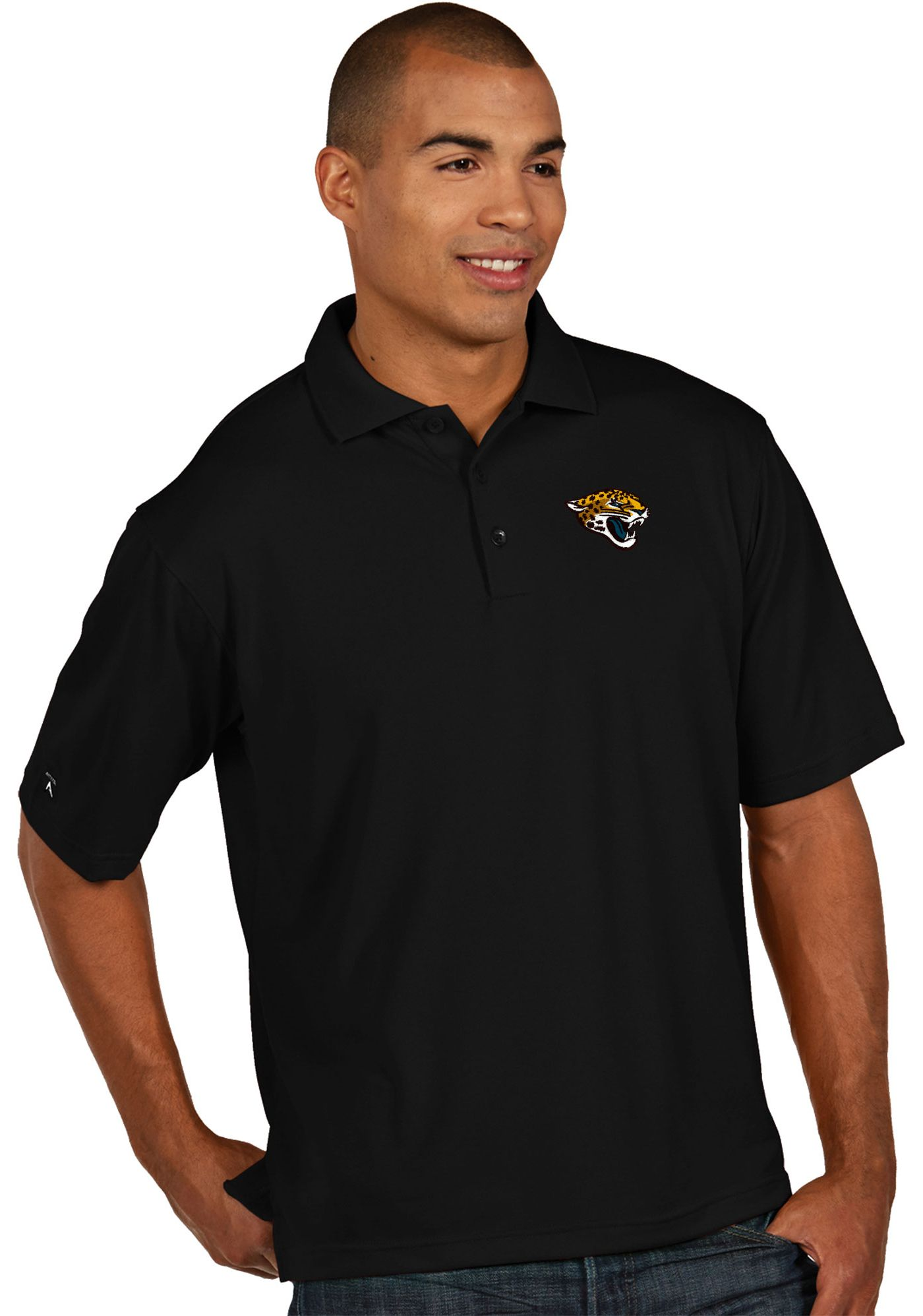 Antigua Men's Jacksonville Jaguars Pique Xtra-Lite Black Polo