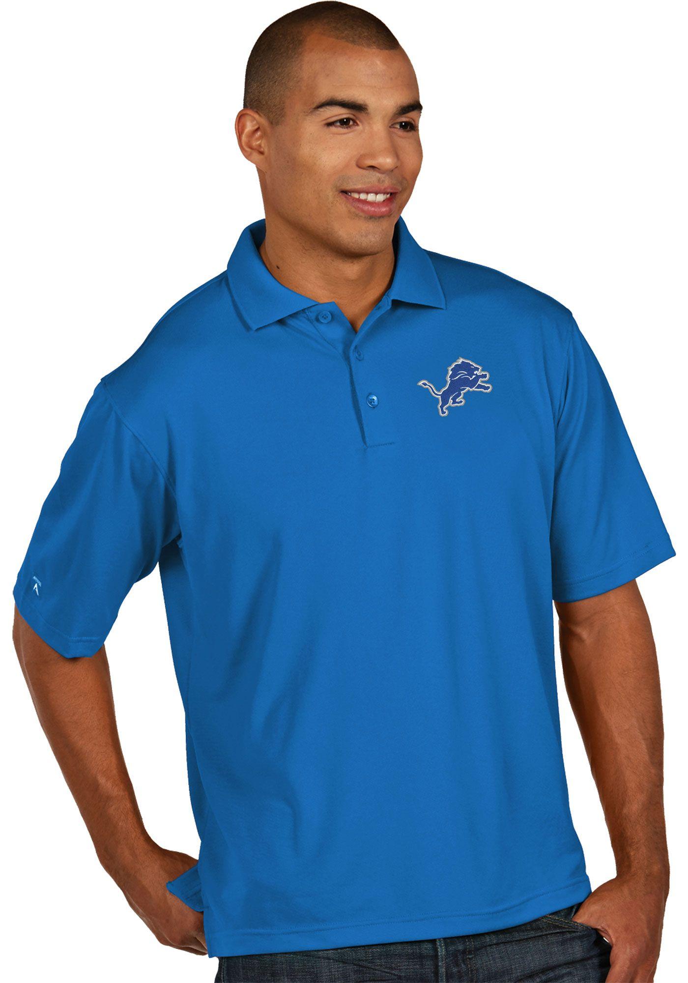 Antigua Men's Detroit Lions Pique Xtra-Lite Blue Polo