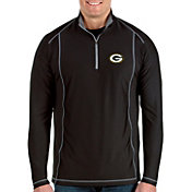 Antigua Men's Green Bay Packers Tempo Black Quarter-Zip Pullover
