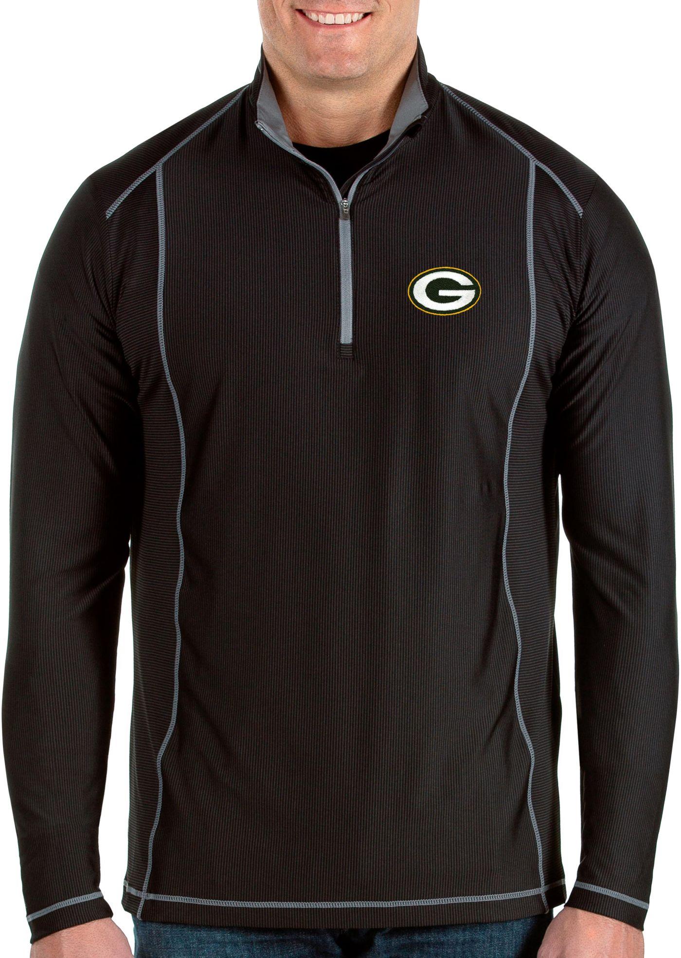 Antigua Men's Green Bay Packers Tempo Black Quarter-Zip Pullover
