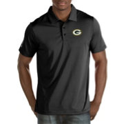 Antigua Men's Green Bay Packers Quest Black Polo