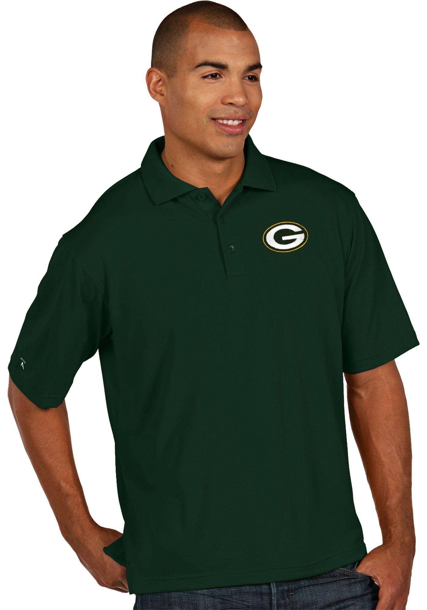 Antigua Men's Green Bay Packers Pique Xtra-Lite Green Polo