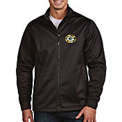 Antigua Men's Green Bay Packers Quick Snap Logo Black Golf Jacket