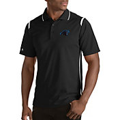 Antigua Men's Carolina Panthers Merit Black Xtra-Lite Polo