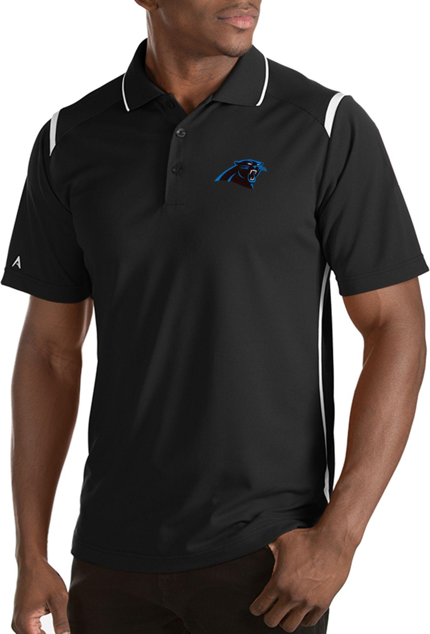 Antigua Men's Carolina Panthers Merit Black Xtra-Lite Polo