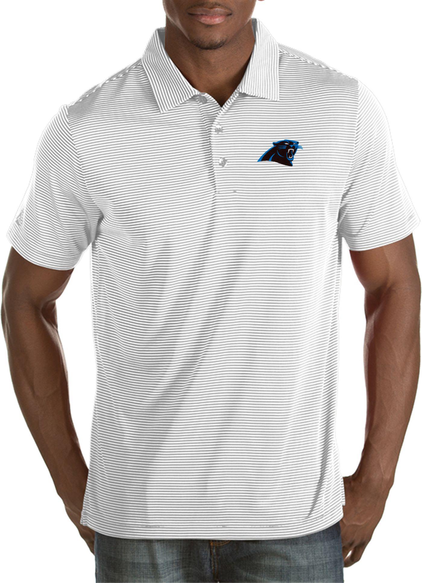 Antigua Men's Carolina Panthers Quest White Polo