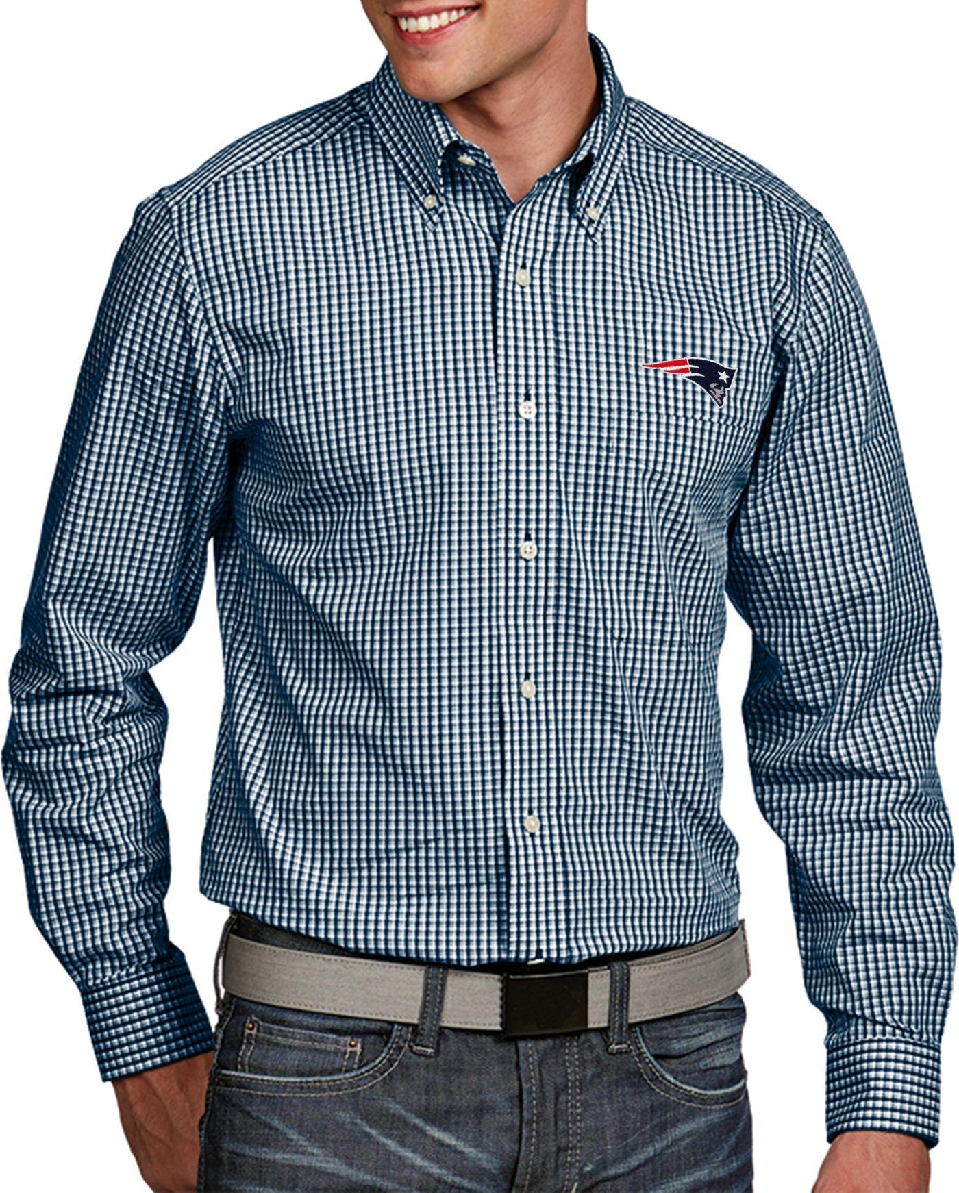 Antigua Men's New England Patriots Associate Button Down Dress Shirt