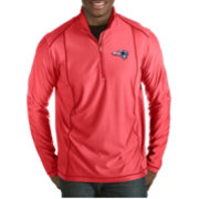 Antigua Men's New England Patriots Quick Snap Logo Tempo Red Quarter-Zip Pullover