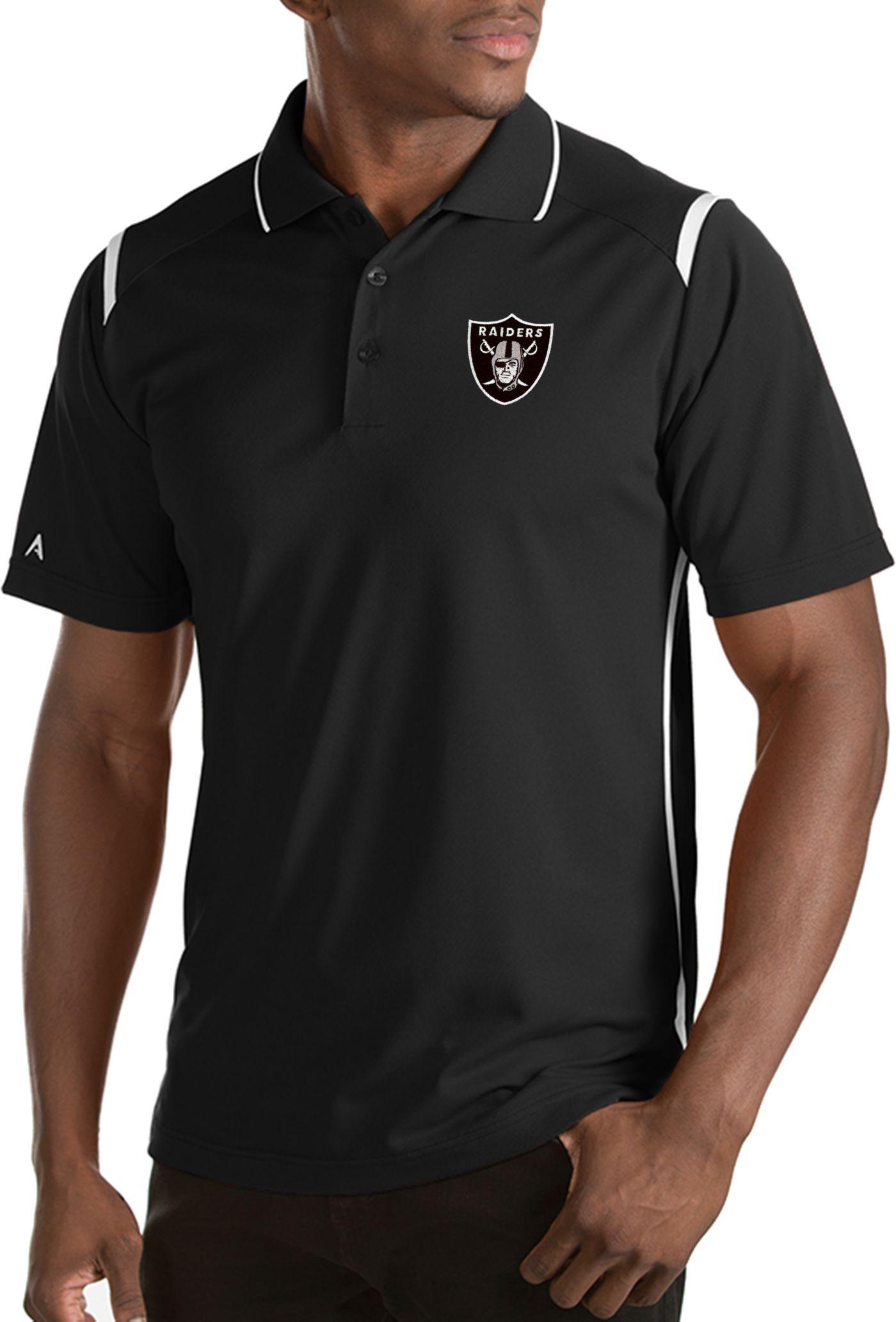 Antigua Men's Oakland Raiders Merit Black Xtra-Lite Polo