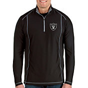 Antigua Men's Oakland Raiders Tempo Black Quarter-Zip Pullover