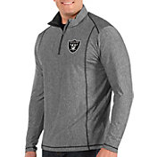 Antigua Men's Oakland Raiders Tempo Grey Quarter-Zip Pullover