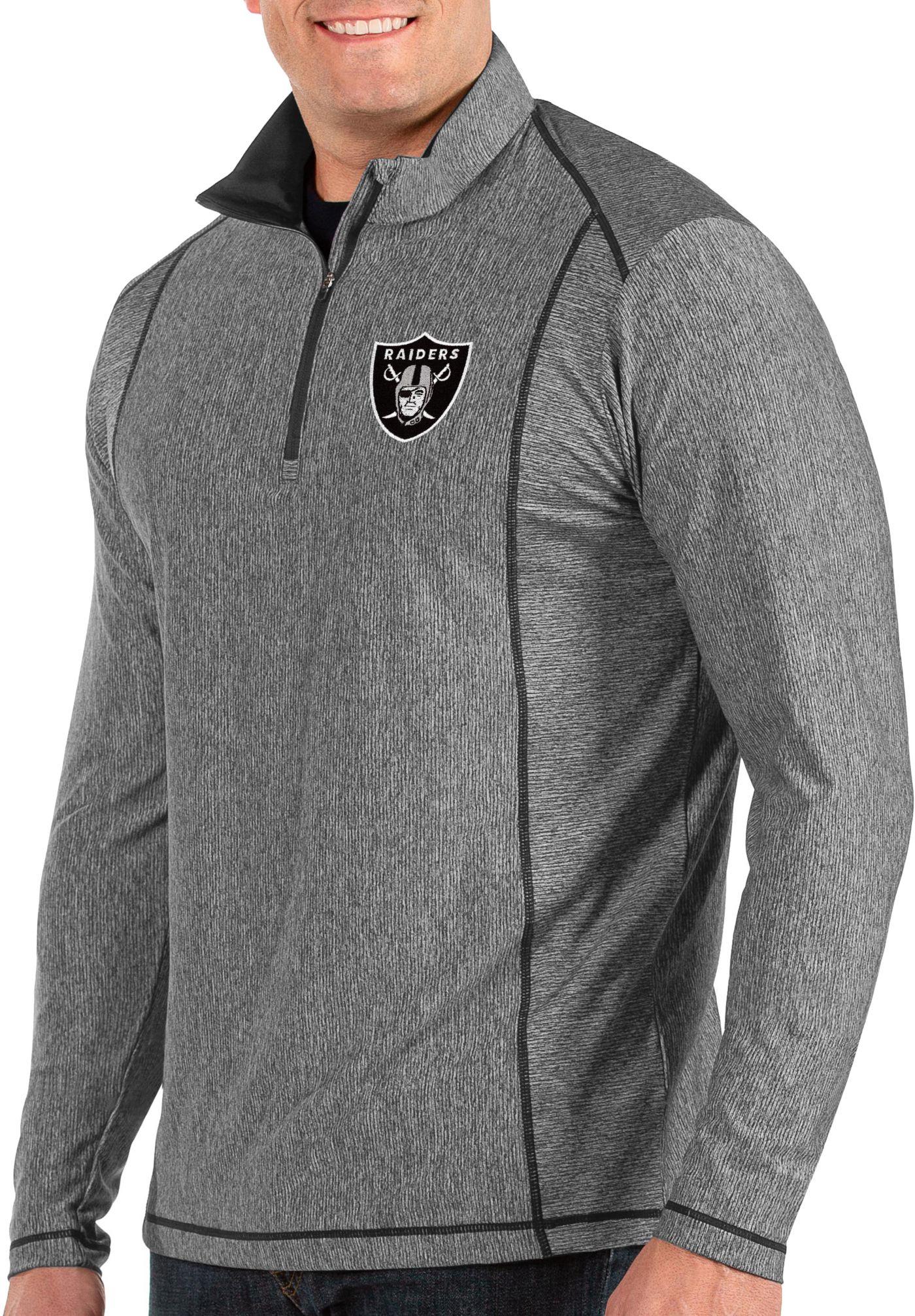 Antigua Men's Oakland Raiders Tempo Grey Quarter-Zip Pullover
