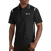 Antigua Men's Seattle Seahawks Merit Black Xtra-Lite Polo