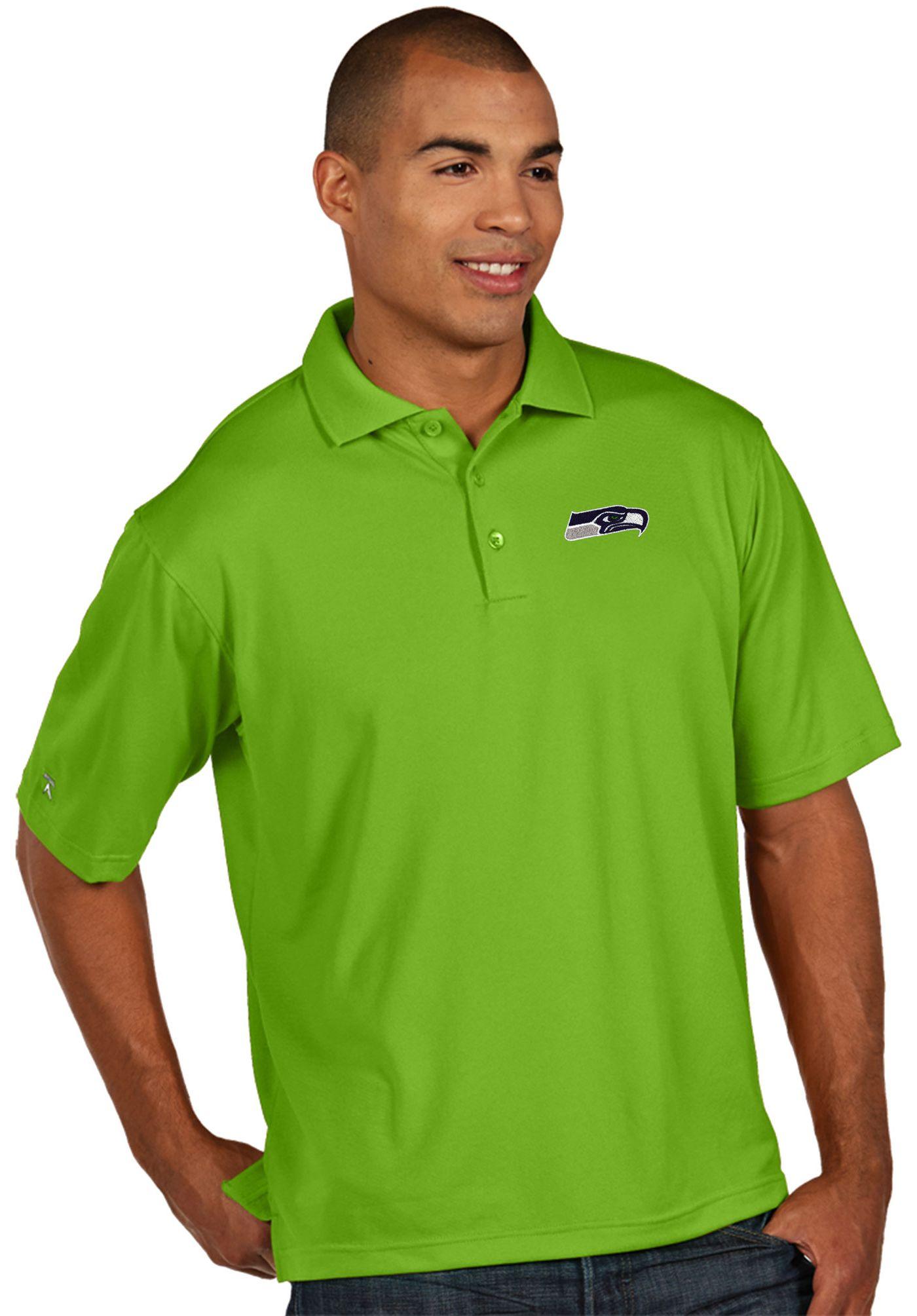 Antigua Men's Seattle Seahawks Pique Xtra-Lite Green Polo