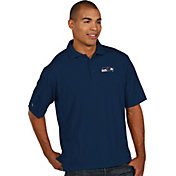 Antigua Men's Seattle Seahawks Pique Xtra-Lite Navy Polo