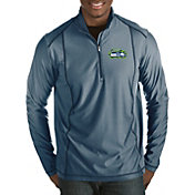 Antigua Men's Seattle Seahawks Quick Snap Logo Tempo Navy Quarter-Zip Pullover