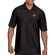 Antigua Men's New Orleans Saints Illusion Black Xtra-Lite Polo
