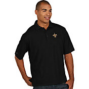 Antigua Men's New Orleans Saints Pique Xtra-Lite Black Polo